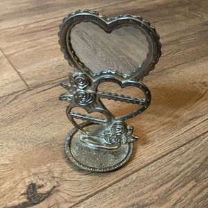 Mirror Earring Holder Heart Shaped Metal w/ Mirror
